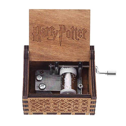 LA-PIN Wood Musical Box, Antique Carved Wooden Music Box Hand Cranked Music Craft - Harry Potter Main Theme