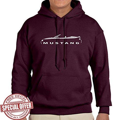 Mustang Underwear Bikini - 1994-98 Ford Mustang Convertible Classic Outline Design Hoodie Sweatshirt 3XL maroon