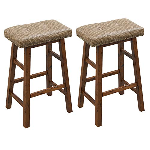 (O&K FURNITURE Wood Saddle Bar Stool, Upholstered Backless Bar Stool, Faux Leather BarStools with Brass Nailhead Studs-30