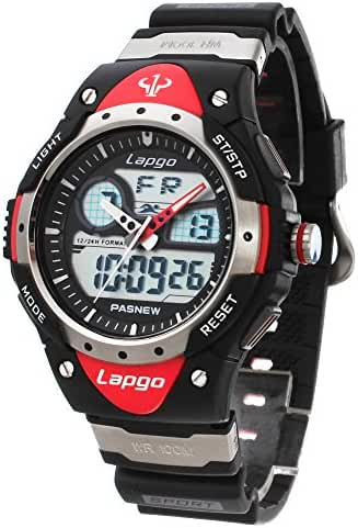FunkyTop Waterproof Outdoor Sports Watch Dual Time Multi Function Digital Watches for Boys Girls (Red-N5)