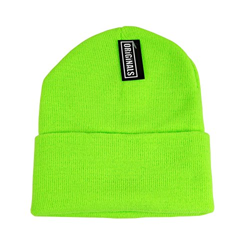 Originals Beanie Knitted Headwear Warm Winter Ski Cap Cuff Plain Solid Colors Beany Skully  Electric Green