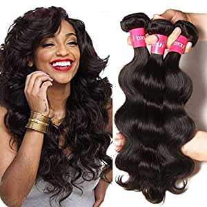 Longqi Beauty Brazilian Virgin Body Wave Weft 3 Bundles 100% Unprocessed Human Hair Weave Remy Wavy Wholesale Hair Products (14 16 18inch, Natural Color)