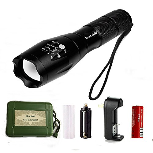 Best 007 XML T6 LED 5 Modes 1000 Lumen Ultra Bright Tactical Portable Waterproof Zoomable Adjustable Focus Flashlight with Rechargeable 18650 Lithium Ion Battery and Charger