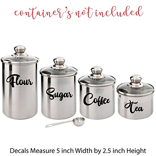 (Set of (4) FOUR Vinyl Graphic Decal Stickers for the Kitchen (Flour, Sugar, Coffee, Tea) Measure 5