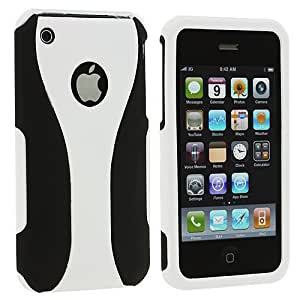 Accessory Planet(TM) Black / White Hard Snap-On 3-Piece Case Cover for Apple iPhone 3G / 3GS