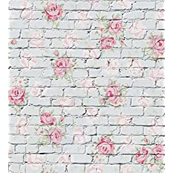 Generic Pink Painted Flower on Gray Brick Wall Photography Backdrop Vintage Wallpaper Seamless Background for Photo Studio Newborn Children 1384
