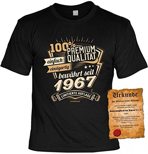 T-Shirt Jahrgang - 100% Premium Qualität seit 1967 - Motivshirt inkl. Urkunde als Geschenk Set zum Geburtstag mit Humor