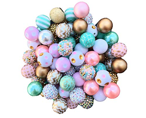 - 20mm Gold, Light Pink, Mint, White Mix 30 Count Chunky Bubble Gum Acrylic Beads Bulk Wholesale Pack Necklace Kit