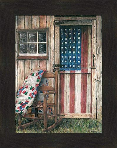 Home Cabin Décor 'American Rocker' by Ed Wargo 16x20 Red White Blue Flag Americana Patriotic USA Stars Stripes Chair Country Weathered Framed Print Picture
