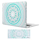 iCasso Macbook Air 13 inch Rubber Coated Soft Touch Hard Shell Protective Case Cover For Macbook Air 13 Inch Model A1369/A1466 With Keyboard Cover (Blue&White Medallion)