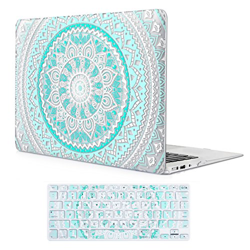 iCasso MacBook Air 11 inch Case Rubber Coated Glossy Hard Shell Plastic Protective Cover for MacBook Air 11 inch Model A1370/A1465 with Keyboard Cover (Blue&White Medallion)