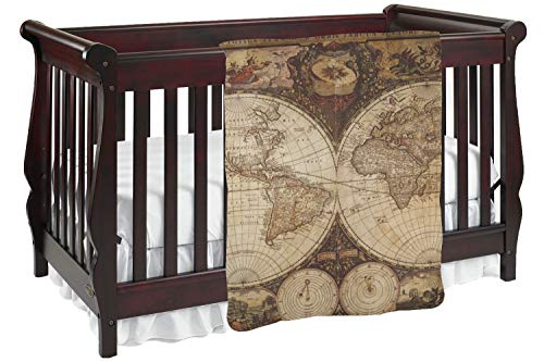 Vintage World Map Baby Blanket (Double Sided)