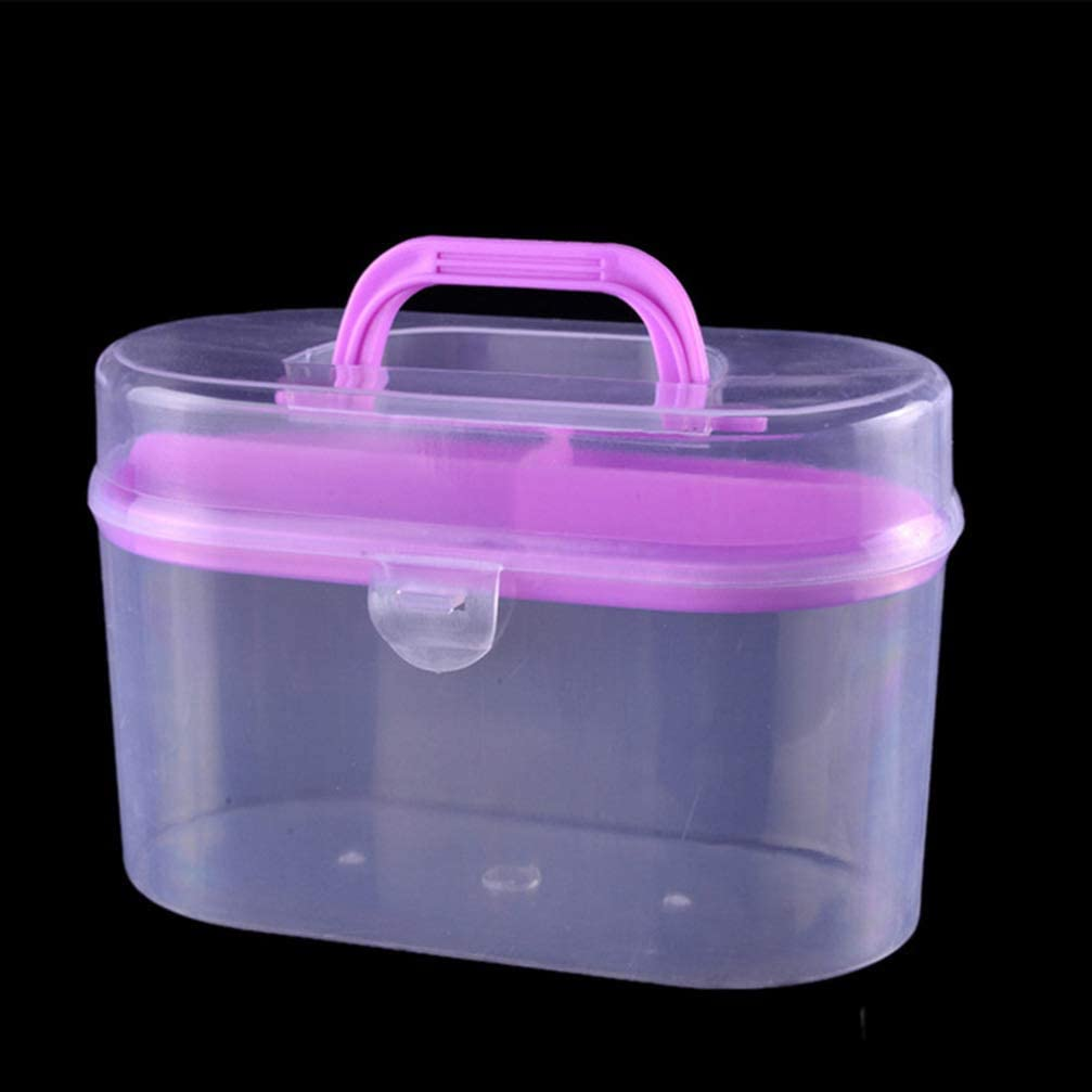 SUPVOX Plastic Sewing Supplies Case Double Layer Sewing Box Empty Knitting Craft Container Sewing Storage Organizer with Handle Random Color