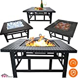 Fire Pit Table Outdoor Set - 32 Inch Diameter Square Fireplace - Multifunctional Garden Terrace Fire Bowl Heater, BBQ, Ice Pit, Outside Wood Burning - with BBQ Grill Shelf, Waterproof Rain Cover