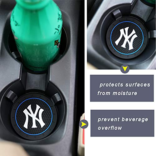 Car concentration camp 2 Pack 2.75 Inch Car Cup Holder Insert Coaster for New York Yankees, Car Interior Accessories Anti Slip Cup Mat for All Vehicles (for NY)