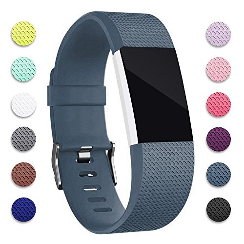 For Fitbit Charge 2 Bands, Hotodeal Replacement Wristbands Soft Silicone Accessory Strap for Fitbit Charge2 HR Tracker, Buckle, 12 Colors, Small Slate