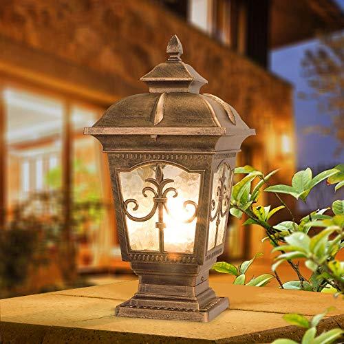 European Waterproof Pillar Light, Column Head Light/Door Column Light/Outdoor Wall Lamp, Villa Wall Door Lamp, Garden Lamp (Color : Bronze 1) by Outdoor lighting (Image #2)
