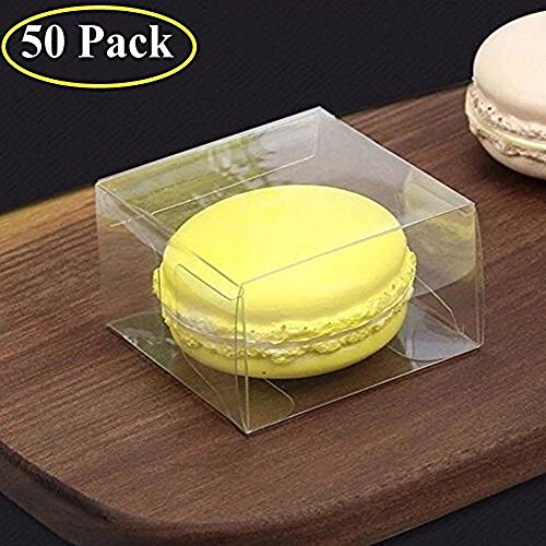 50PCS Plastic Clear Single Macaron Box Party Favor Bakery Boxes by RomanticBaking