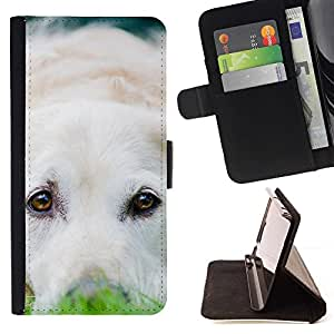 Momo Phone Case / Flip Funda de Cuero Case Cover - Cachorro Labrador Retriever Perro Blanco; - HTC One A9