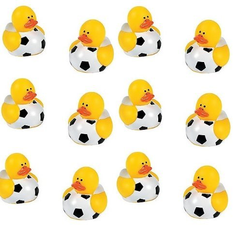 Lot Of 12 Mini Soccer Ball Rubber Ducks - Party Favors