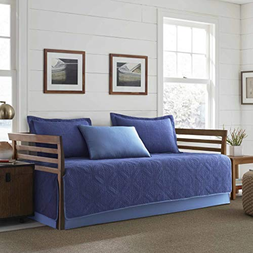 5 Piece Blue Medallion Daybed Cover Set, Geometric Casual Diamond Grid Stitched Shape Pattern Day Bed Bedskirt Pillows, Polyester ()
