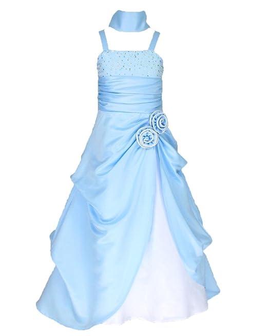 Go2victoria Sin Mangas Vestido Satén Vestido de Fiesta para Niña Vestido de Madrina Vestido de ahijada