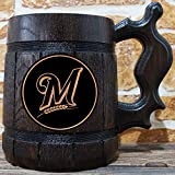 Milwaukee Brewers Beer Mug, Baseball Wooden Beer Stein, Sport Gift, Personalized Beer Stein, Milwaukee Brewers Tankard, Custom Gift for Men, Gift for Him