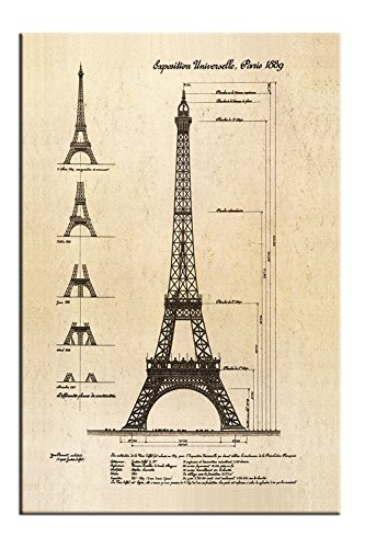 (Eiffel Tower architectural drawings, canvas print, home decoration painting No Frame Size 20x30cm)