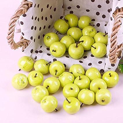 30Pcs Fake Green Mini Apples Plastic Artificial Fruit House Party Kitchen  Decor
