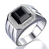 Men's Natural Big Black Agate Gemstone Cubic Zirconia 925 Silver White Gold Plated Engagement Promise Fashion Band Ring Set