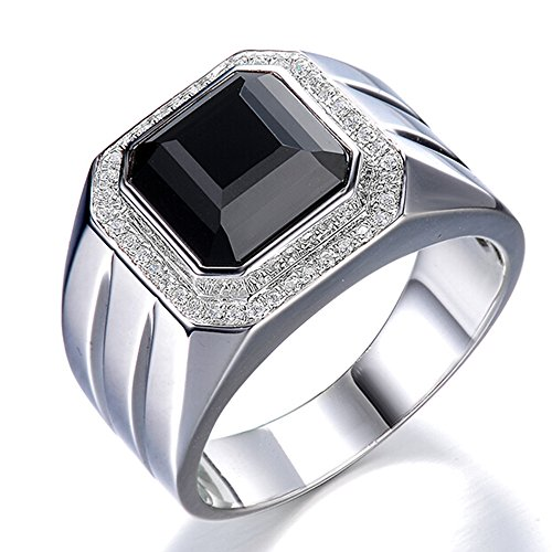 Men's Natural Big Black Agate Gemstone Cubic Zirconia 925 Silver White Gold Plated Engagement Promise Fashion Band Ring Set by Kardy