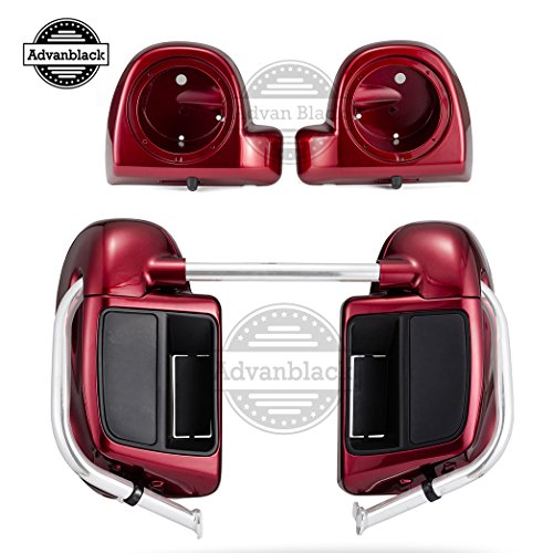 Advanblack Velocity Red Sunglo Lower Vented Fairings 6.5 inch Speaker Pods For Harley Davidson Touring Road King Road Glide Street Glide Electra Glide 2014 2015 2016 2017 ()