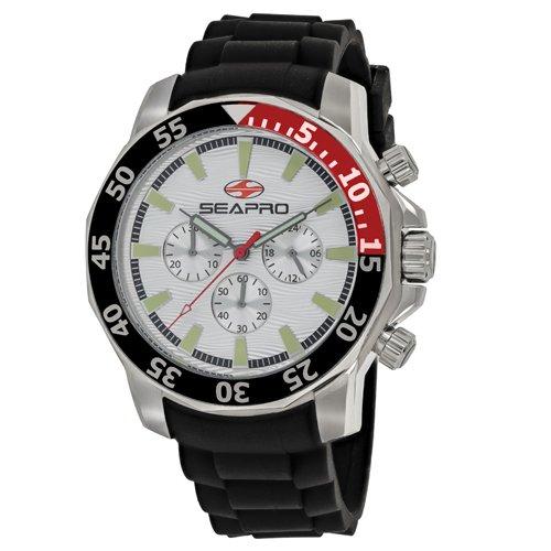Men's Scuba Explorer Quartz Watch with Stainless-Steel Strap, Black, 20 (Model - Seapro SP8330