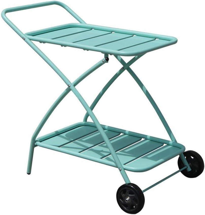 COBANA Indoor or Outdoor Metal 2 Shelf Rolling Service Utility Cart, Kitchen Bar Cart, Baby Blue
