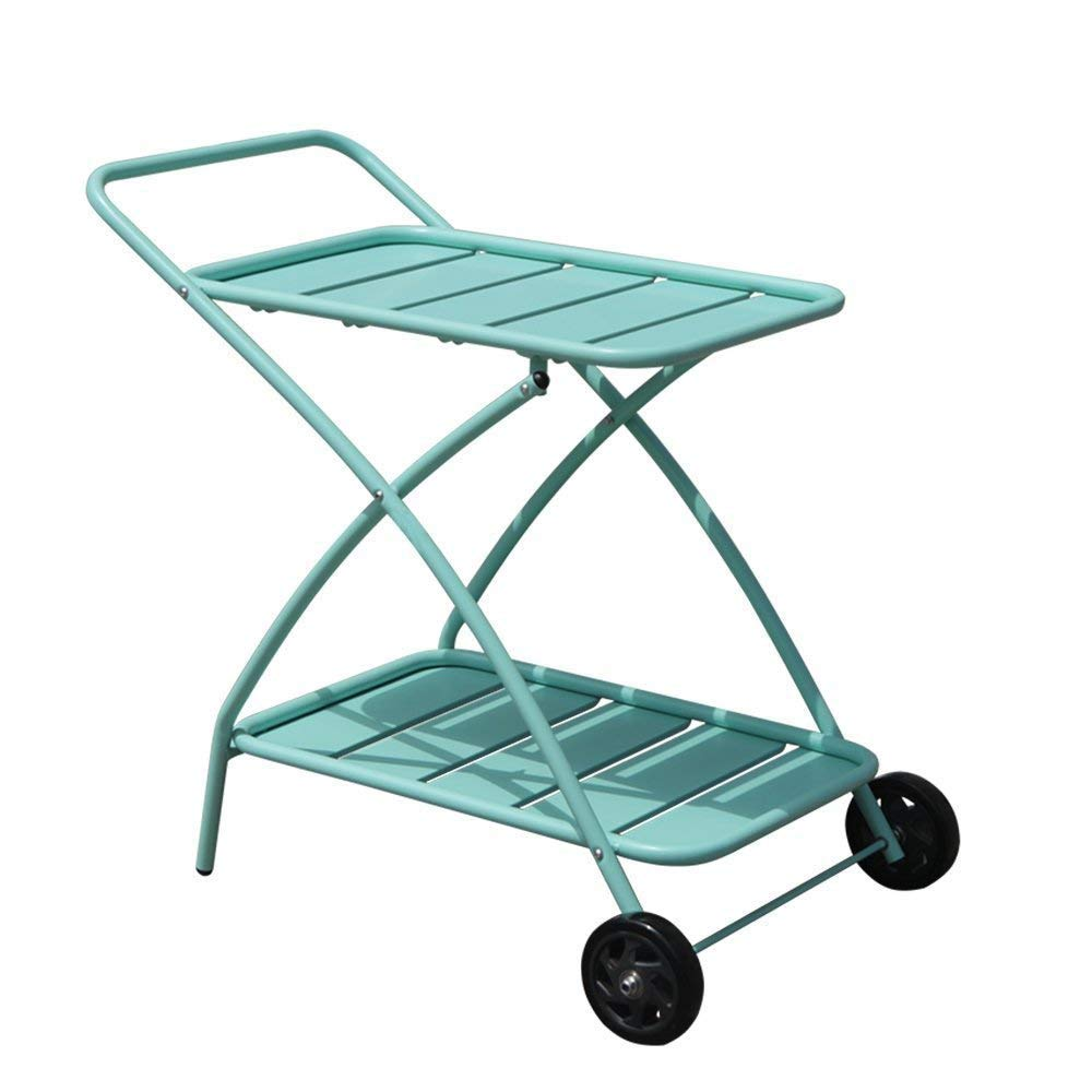 COBANA Indoor or Outdoor Metal 2 Shelf Rolling Service & Utility Cart, Kitchen&Bar Cart, Baby Blue