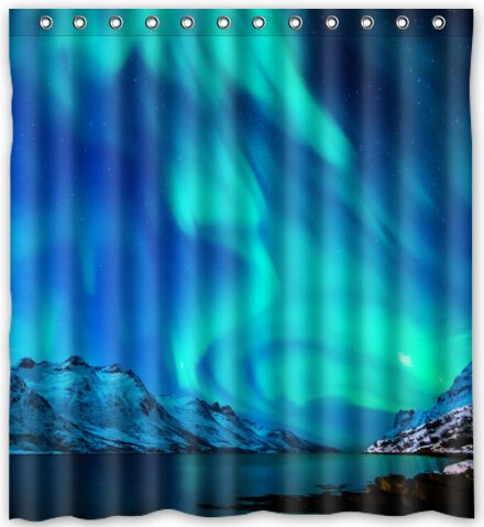 "Fashion Northern Lights Alaska Aurora Borealis Waterproof Fabric Bath Shower Curtain 66"" x 72"""