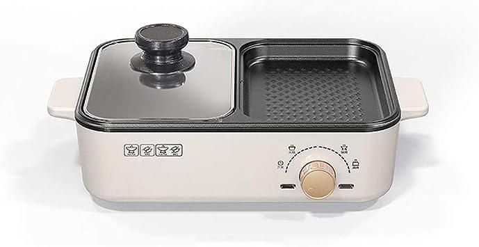 ZTING Hogar 1.2L eléctrico Hot Pot, Cocinar la máquina con la Bandeja de Asar Grill Multi Olla Antiadherente Olla eléctrica Hotpot Conveniente para la Oficina y el Dormitorio de la Familia,Blanco: Amazon.es: