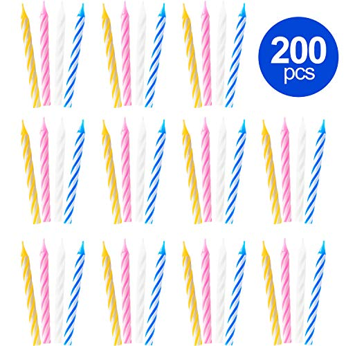 Honoson 200 Pieces Birthday Candles Trick Candles Colorful Striped Birthday Cake Candles for Birthday Wedding Party Celebration (Striped Candles Cake Pink)