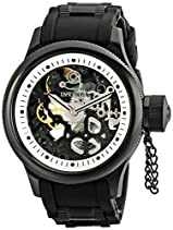 Invicta Men's 1091 Russian Diver Stainless Steel and Black Polyurethane Watch with Skeleton Window