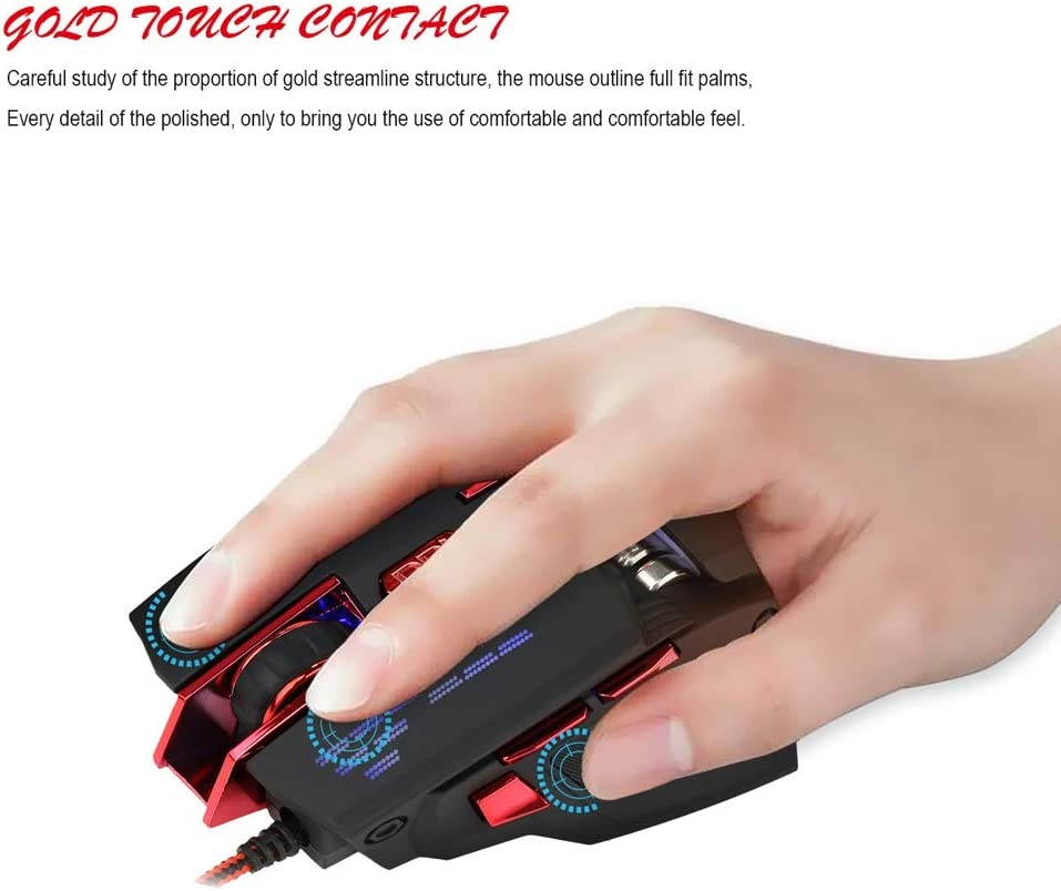 Mute and Smooth Wired Computer Mouse Black Mouse L123mm /× W85cm /× H39mm ka USB Port Feels Comfortable Suitable for PC//Laptop//Tablet