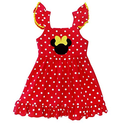 So Sydney Girls Toddler Pink or Red Minnie Mouse Kids Boutique Dress or Outfit (5 (L), RIC Rac Polka Dot Dress)