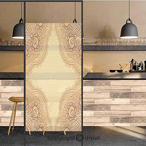 3D Decorative Privacy Window Films,Ethnic Bohemian Style Mandala Pattern Traditional Indian Structural Art Print,No-Glue Self Static Cling Glass film for Home Bedroom Bathroom Kitchen Office 24x36 Inc