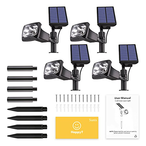 Sunix Solar Spotlight Outdoor, 5 LED Solar Lights Outdoor Solar Spotlight for Garden Waterproof Solar Spotlights Security Lights for Yard,Patio,Pathway,Garden etc.(4 Pack)