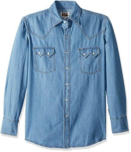 Ely & Walker Men's Long Sleeve Shirt, Bleached Denim, Large Walker Denim
