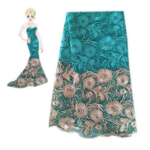 KENLACE 2018 Latest French Net Lace Fabric African Lace Fabric with Embroidery Mesh Tulle Lace Fabric Nigerian Lace (Turquoise)