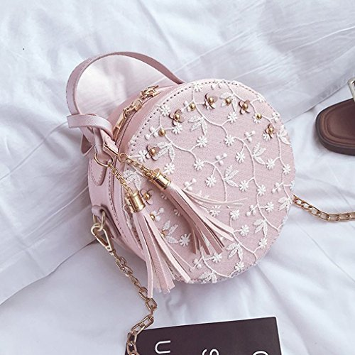 Mädchen Princess Für Handtasche Tote Quaste Bag Tasche Lace Frauen Crossbody Pink Geschenk Schultertasche Runde Senoow HdqIH