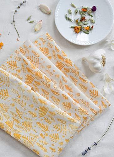 (Cloth Dinner Napkins - Set of 4 - Fern Print - Handmade - Hand-printed - Unpaper Towels - Cotton Napkins - Washable - Reusable)