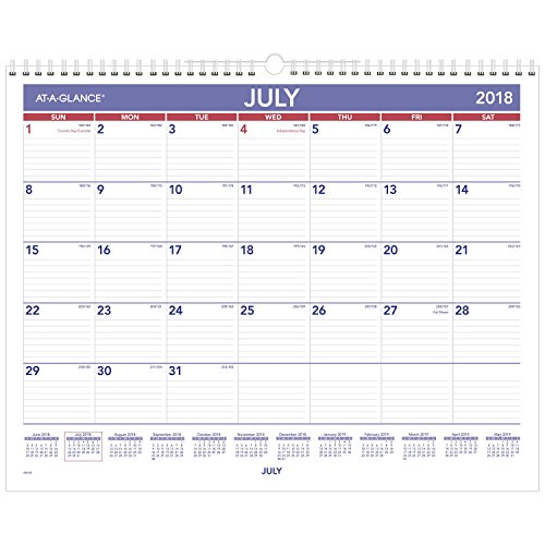 AT-A-GLANCE 2018-2019 Academic Year Wall Calendar, Medium, 15 x 12, Wirebound (AY828) - A-glance Recycled Desk
