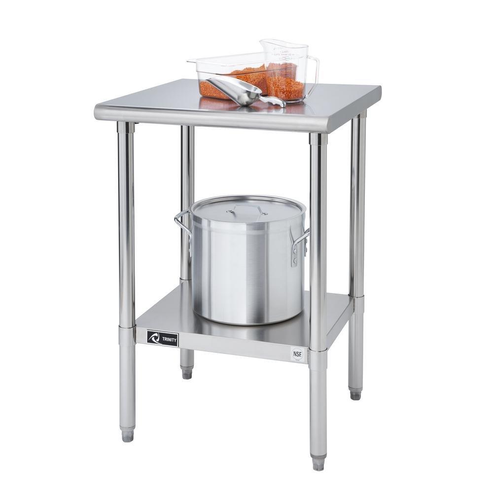 24 in. W Stainless Steel Kitchen Work Center with Adjustable Bottom Shelf