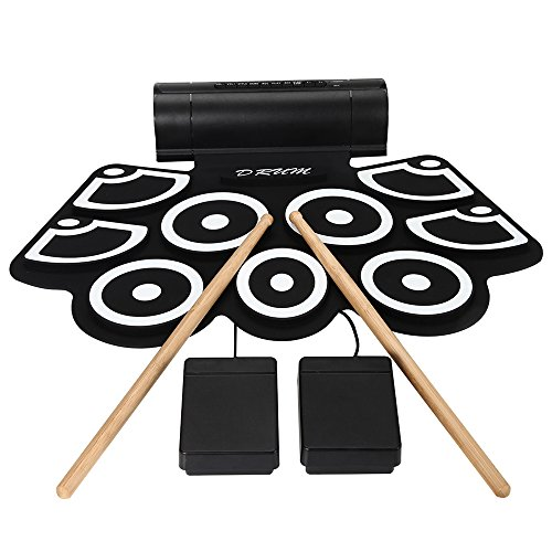 Aufitker Roll Up Drum, Electronic Hand Roll MIDI Drum with Built in Speakers, Foot Pedals, Drumsticks, and Power Supply